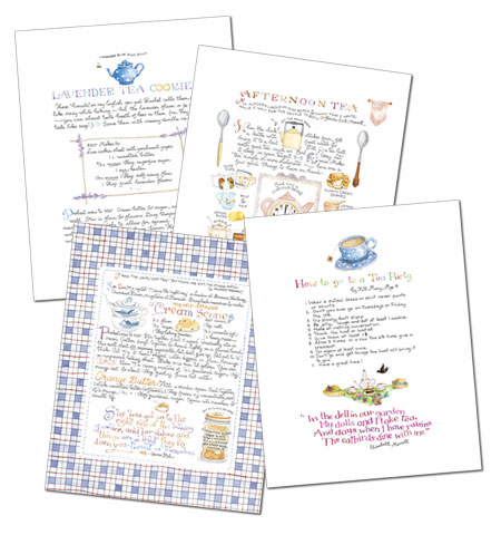 Tea Party Prints, Set of Four