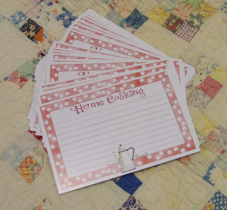 Home Cooking Recipe Cards