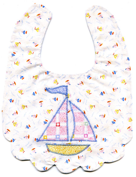 Infant Bib Pattern with Sailboat Applique