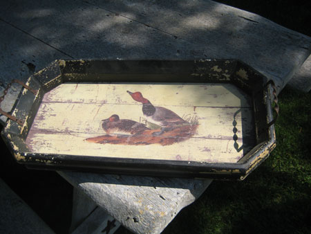 Wood Tray with Ducks