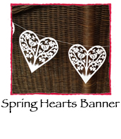 Spring Hearts Banner, white