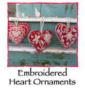 Embroidered Heart Ornaments, set of 3
