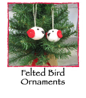 Felted Bird Ornaments, set of 2