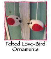 Felted LOVE Bird Ornaments, set of 2