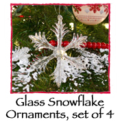 Glass Snowflake Ornaments, set of 4