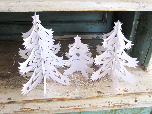 Scherenschnitte Paper Trees, set of 3