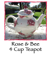 Rose & Bee 4 Cup Teapot, Boxed