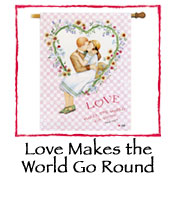 Love Makes The World Go Round Decorative Flag