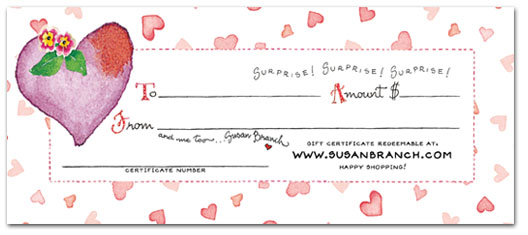 SusanBranch.com Love Gift Certificate