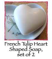 French Tulip Heart Shaped Soap, set of 2