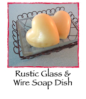 Rustic Glass & Wire Soap Dish