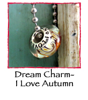 Glass Charm Bead- I Love Autumn