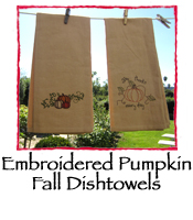 Embroidered Pumpkin Fall Dishtowels, Set of 2