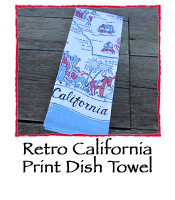 Retro California Print Dish Towel