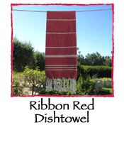 Ribbon Red Dishtowel