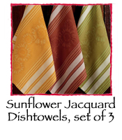 Sunflower Jacquard Dishtowels, set of 3