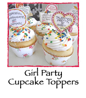 Girl Party Cupcake Topper Kit