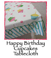 Happy Birthday Cupcakes Tablecloth