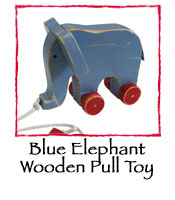 Blue Elephant Wooden Pull Toy