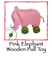 Pink Elephant Wooden Pull Toy
