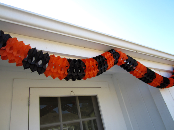 Orange and Black Tissue Paper Garland