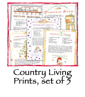 Country Living Prints, set of 5