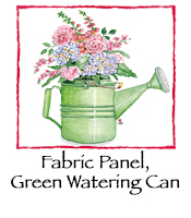 Fabric Panel, Green Watering Can