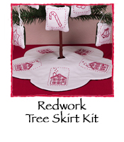 Redwork Tree Skirt  Kit