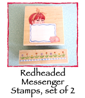 Redheaded Messenger Stamps, set of 2