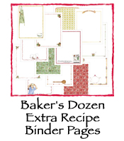 Baker's Dozen Extra Recipe Binder Pages