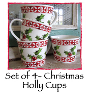 Set of 4- Christmas Holly Cups