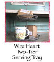 Wire Heart Two-Tier Serving Tray