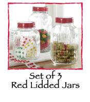 Set of 3 Red Lidded Jars
