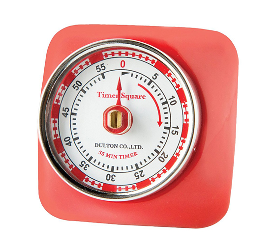 Red Retro Square Kitchen Timer
