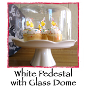 White Cake Pedestal With Glass Dome