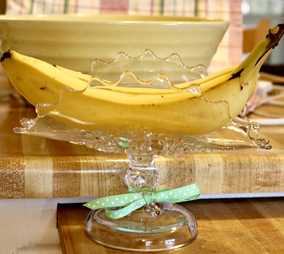 Vintage Glass Banana Dish