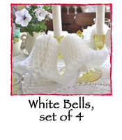 White Bells Tissue Paper Decorations, set of 4